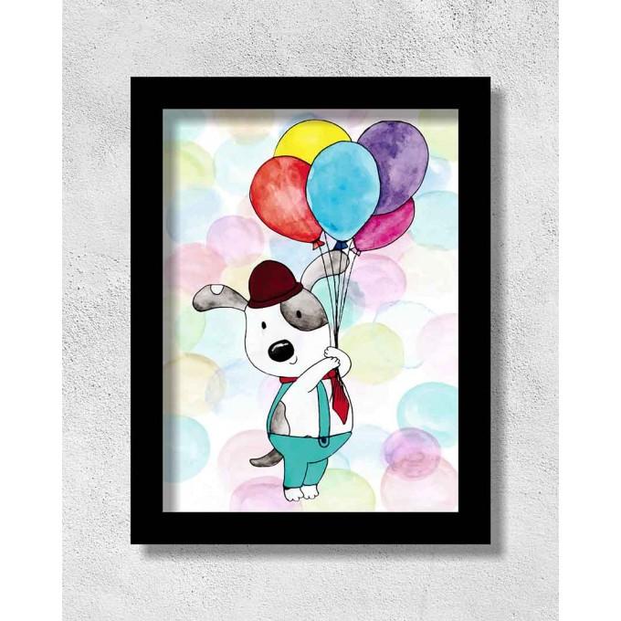 Cachorro com Balões Coloridos